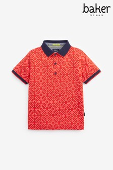 Baker by Ted Baker Boys Red Geometric Poloshirt