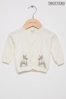 Trotters London White Bunny Cardigan