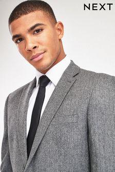 Grey Tailored Fit Herringbone Suit: Jacket