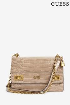 Guess Beige Katey Croc Convertible Cross-Body Bag