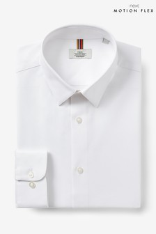 White Slim Fit Single Cuff Cotton Stretch Motion Flex Shirt