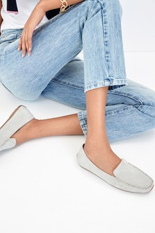 Grey Suede Cosy Lined Moccasins