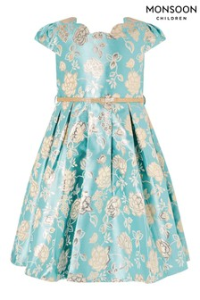Monsoon Blue Jacquard Dress