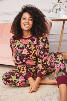 Berry Floral Cosy Pyjamas In Gift Bag