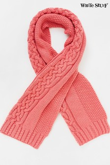 White Stuff Pink Penny Cable Knit Scarf