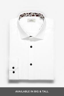 White Floral Slim Fit Single Cuff Contrast Trim Shirt