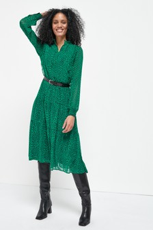 Green Spot Midi Tiered Shirt Dress