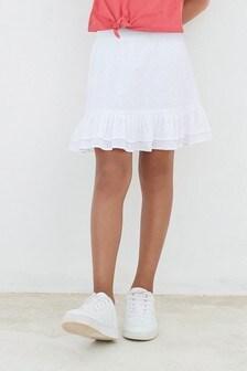 White Broderie Ruffle Skirt (3-16yrs)