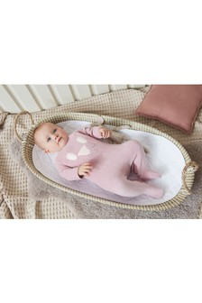 Pink Bunny Velour Sleepsuit (0mths-3yrs)
