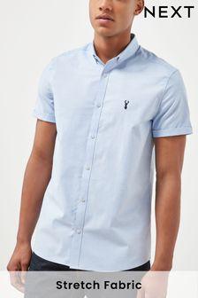 Light Blue Slim Fit Short Sleeve Stretch Oxford Shirt