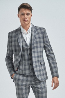 Light Grey Super Skinny Fit Check Suit: Jacket