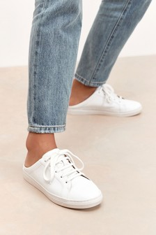 White Mule Signature Leather Trainers
