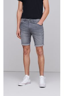 Grey Slim Fit Denim Shorts