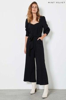Mint Velvet Black Square Neck Jumpsuit