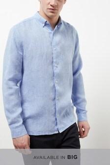 Light Blue Pure Linen Regular Fit Shirt