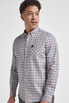 Purple Regular Fit Gingham Long Sleeve Stretch Oxford Shirt