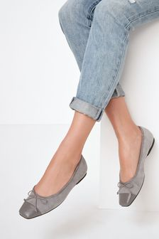 Grey Leather Square Toe Ballerina Shoes