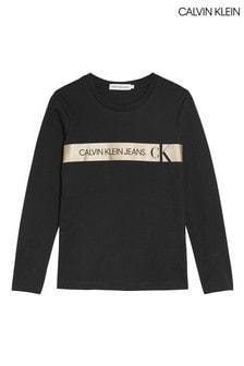 Calvin Klein Black Foil Logo Long Sleeve T-Shirt