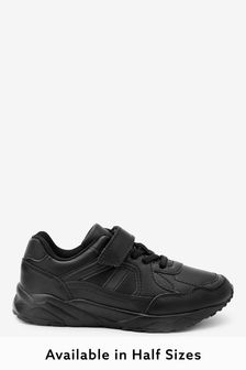 Black Single Strap Elastic Lace Trainers (Older)