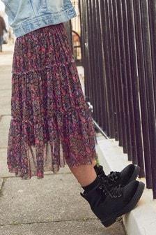 Pink Paisley Pattern Midi Skirt (3-16yrs)
