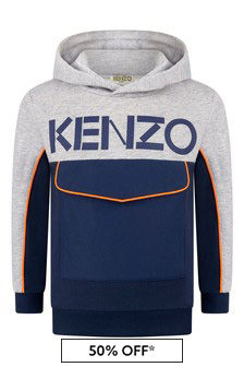 Boys Grey/Navy Hooded Sweater