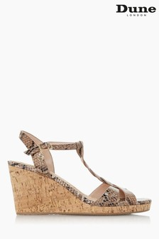 Dune London Animal Koala leather Plait Strap Cork Wedge Heels