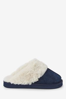 Navy Suede Mule Slippers