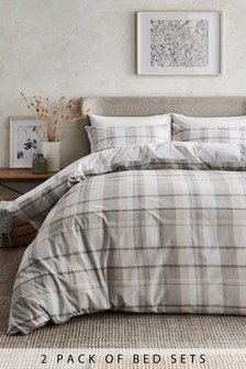 2 Pack Reversible Versatile Natural Check Duvet Cover And Pillowcase Set