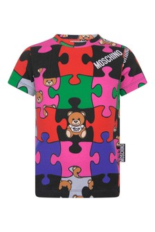Kids Multicoloured Cotton Jigsaw T-Shirt