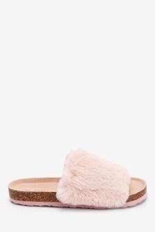 Pink Cork Faux Fur Slider Slippers