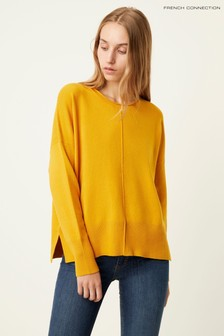 French Connection Yellow Della Vhari Crew Neck Jumper