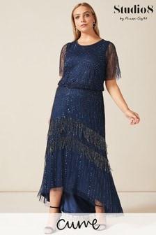 Studio 8 Blue Evadine Beaded Maxi Dress