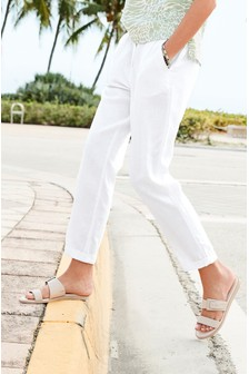 White Linen Blend Tapered Trousers