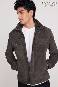 Charcoal Signature Suede Collared Jacket