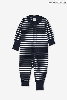 Polarn O. Pyret Blue GOTS Organic Striped All-In-One