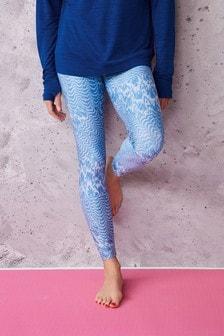 Blue Marble Print Sculpting Sports Leggings