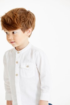 White Long Sleeve Linen Mix Grandad Shirt (3mths-7yrs)