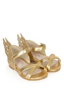 Girls Gold Evangeline Sandals