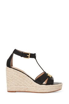 Lauren Ralph Lauren® Leather Monogram Logo Wedge Hale Sandals