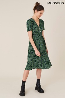 Monsoon Green Printed Short Sleeve Wrap Dress
