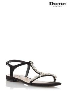 Dune London Black Nasa Embellished Flat Sandals