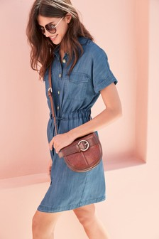 Blue TENCEL™ Utility T-Shirt Dress