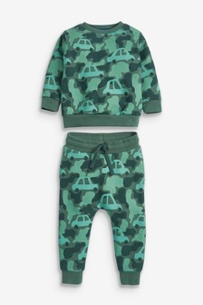 Green Camo Car Crew and Jogger Set (3mths-7yrs)