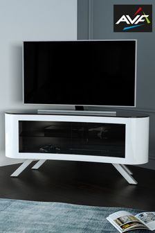 White AVF Bay 1150 Curved TV Stand