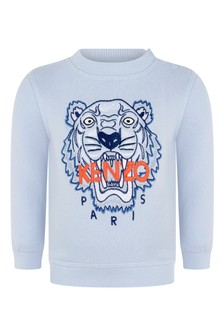 Baby Boys Light Blue Tiger Cotton Sweater