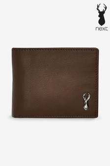 Brown Leather Stag Badge Extra Capacity Wallet