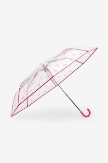 Clear Multicolour Zebra Print Crook Handle Umbrella