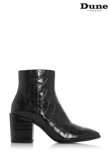 Dune London Black Optimum Croc Print Leather Toe Ankle Boots