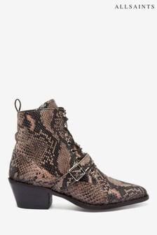 AllSaints Katy Calf Snake Print Boots