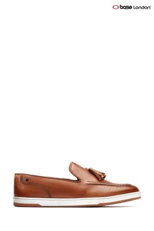 Base London® Tan Pogo Burnished Slip-On Loafers
